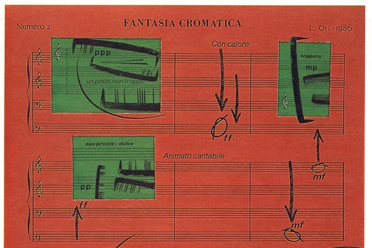 © Luciano Ori, Fantasia Chromatica, technique mixte (détail) (1986)